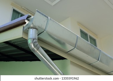 stainless steel of roof gutter on residential house building