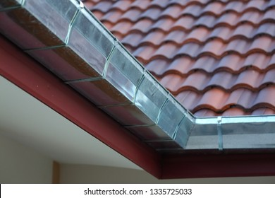 stainless steel of roof gutter on residential house