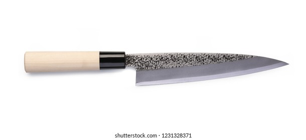 Stainless steel santoku knife isolated on white background