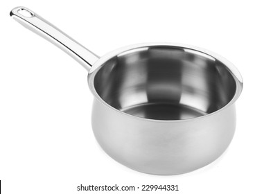 Stainless steel saucepan isolated on white background.
