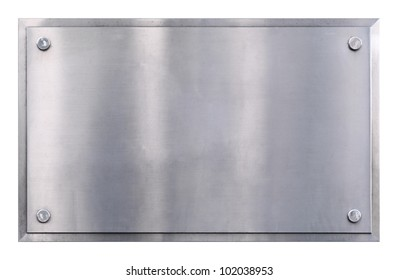 Stainless steel shiny gray metal sign with rivets texture background isolated on white