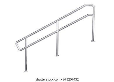Stainless steel staircase railing isolated on white, with clipping path.