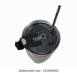 Stainless steel straw with tumbler for reusable on white background, in concept stop using plastic.