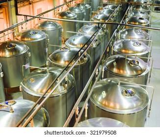 Stainless steel tanks. Food industry.