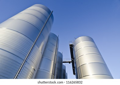 Stainless steel tanks used for making wine