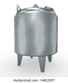 stainless steel temperature controlled pressure tank, 3d render isolated on white