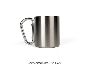 Stainless steel thermo mug with carabiner handle isolated on white background