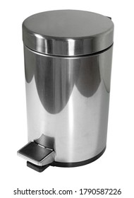 Stainless steel trash bin with foot pedal (isolated on white background)