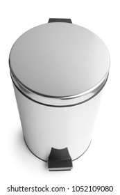 Stainless steel trash can with pedal on white background