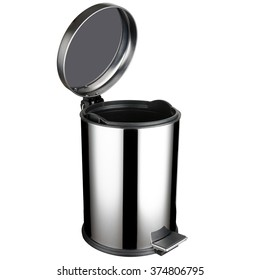 Stainless steel trash can with pedal, open lid, 12 liters volume