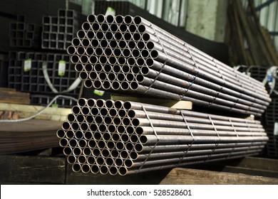 Stainless steel tubes deposited in stacks