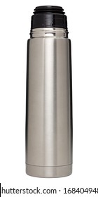 Stainless steel vacuum flask isolated on white with clipping path