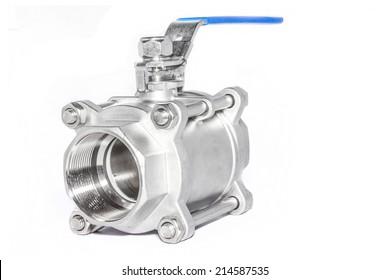 Stainless steel valve on white background.