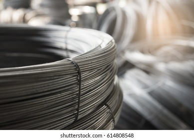 Stainless Steel wire Rolls in construction site.Closeup of Metal Steel reinforced rod for concrete in store.Construction Concept.