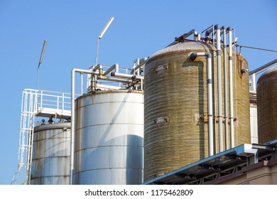 Stainless storage tanks in chemical industry . .metal detail