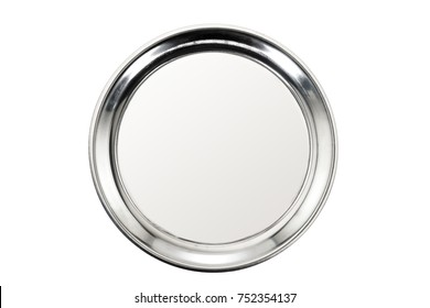 Stainless tray on white background. Top view.