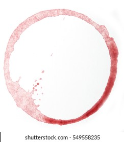stains from red wine on a white background