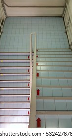 Stair with arrow sign up and down.