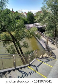 Stair to the artificial island in Mur river, Graz