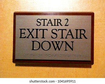 Stair Exit Down Sign