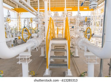Stair of gas metering station and pipeline at power plant