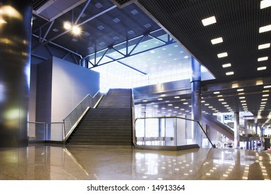 Stair and lights on ceiling in office centre