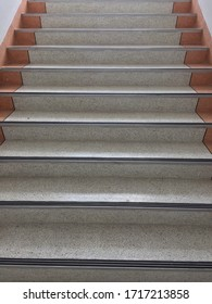 Stair steps leading up and down. Abstract stair inside the building. Stairway and cloudy background. Bustiness concept