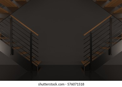 staircase 3d render background concept interior with the black room