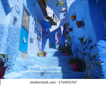 A staircase in the beautiful blue old town, Medina, Chaouen (Chefchaouen), Morocco