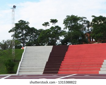 staircase bleachers White and red