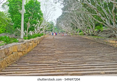 The staircase to the Buddhist Monastery in Mihintale, the site of pilgrimage, historic and cultural interest, the notable landmark for tourists, Sri Lanka.