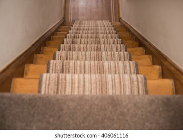 Staircase with carpet runner
