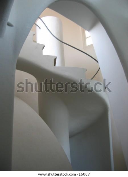 Staircase in Casa Matllo, Guadi building, Barcelona, Spain.