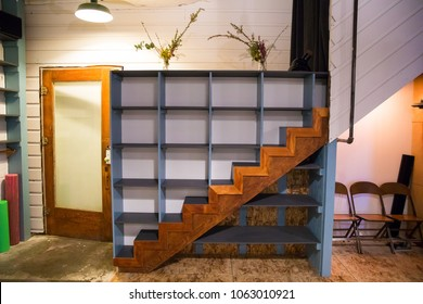 Staircase Cubbies at Yoga Studio