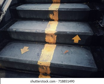 staircase and up down arrow signs, for any work about people life background.