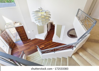 staircase and entrance to modern australian home from above