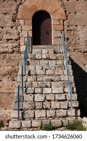 staircase and entrance of nerpio castle in spain