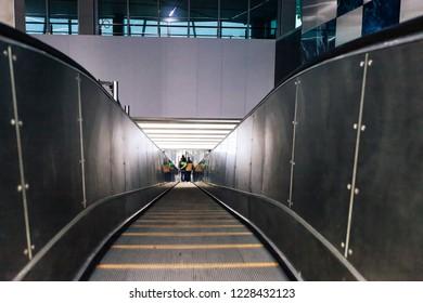 Staircase Escalator Inside the Underground Subway Metro Station