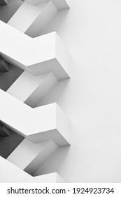 Treppe Brandschutz Gebäude Außenarchitektur Details minimaler weißer Hintergrund