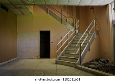 Staircase inside an abandoned building.