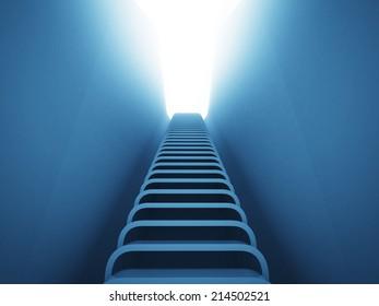staircase ladder up perspective in blue light  render illustration