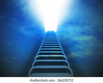 staircase ladder up perspective in blue light sky render illustration