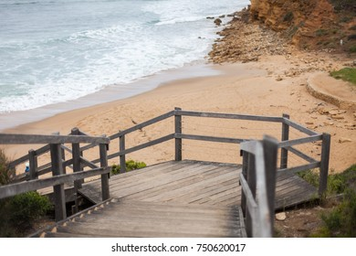 Staircase leading down to the iconic Bells Beach, located in Torquay, Victoria