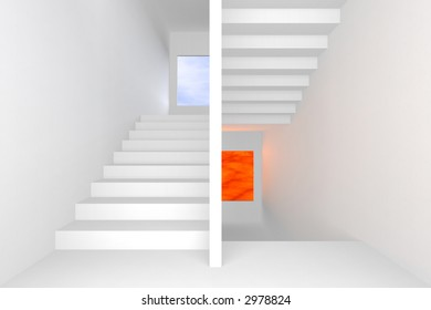staircase leading to heaven and hell