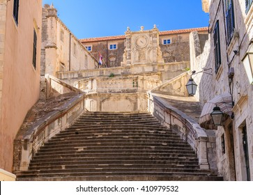 Staircase leading up to the Jesuit Church of St. Ignatius Loyola and the old Collegium Ragusinum in Dubrovnik