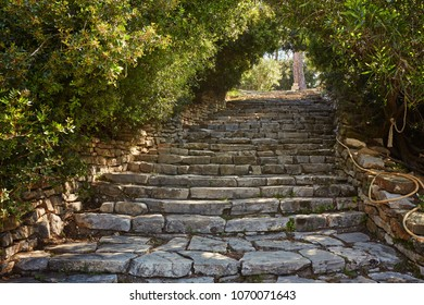 staircase leading to the ruins of Phaselis, Turkey