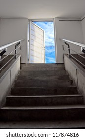 Staircase leading to the sky, business metaphor
