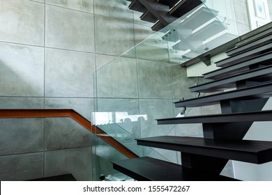 staircase luxury home in modern villa beautiful interior.