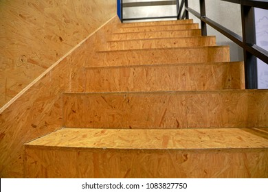 A Staircase Made Of Particleboard