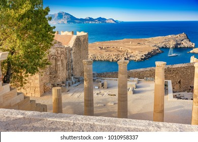 Staircase of the Propylaea and Church of St. John on the Acropolis of Lindos (Rhodes, Greece)
